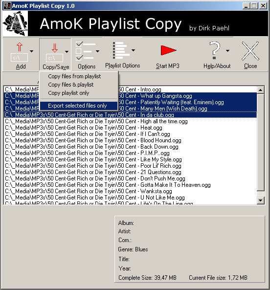 AmoK Playlist Copy software screenshot