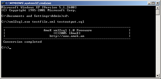 Screenshot. AmoK xml2sql. Supported OS Win 3.1x, Win95, Win98, WinME,